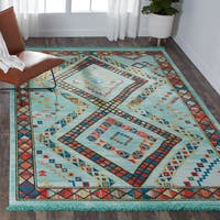 "Nourison Tribal Decor Diamond Aqua/Multicolor Rug - 5'3"" x 7'6"""