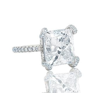 Platinum Wedding Band with 10.02 Carat GIA Certified Princess Cut Main Diamond - White