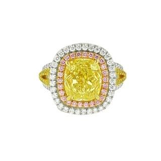 Platinum Diamond Ring with Main 5.02 Carat Fancy Yellow Diamond in double Halo setting with 2.00 Carat of Diamonds