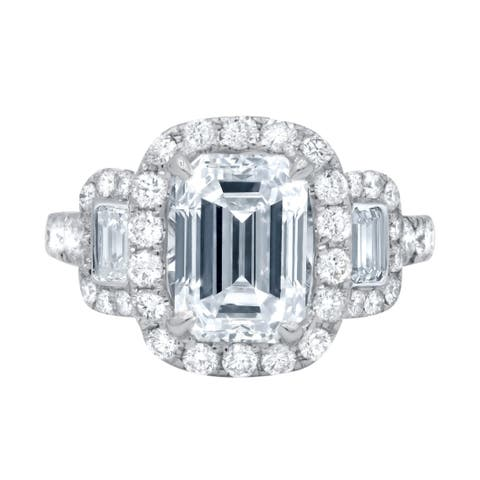 Platinum Engagement Ring with Main Emerald Cut 3.19 Carat Diamond and two side Baguette Cut Diamonds - White