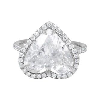 Platinum Heart Shape Diamond Ring with 4.96 Carat Main EGL Certified Stone - White
