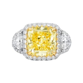 Platinum and 18K Yellow Gold Ring with Main 5.15 Carat Fancy Light Yellow Cushion Cut Diamond and Two Side Diamonds