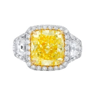 Platinum and Yellow Gold Ring with Main 5.54 Carat Fancy Yellow Cushion Cut Diamond and Two Side Trillion Diamonds