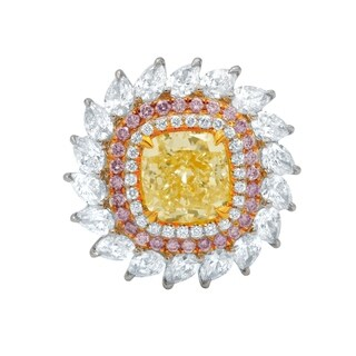 Platinum, Rose and Yellow Gold Ring with main 4.03 Carat Stone in Double Halo setting with color Diamonds