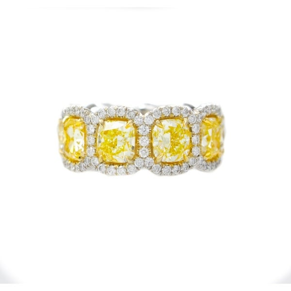 18K White Gold Eternity Band with 10.91 Carat of Yellow Cushion Cut Diamonds and 1.68 Carat of White Diamonds