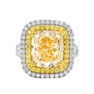 Platinum and Yellow Gold Diamond Ring with Main 7.02 Carat Fancy Light Yellow Stone set in Double Halo Setting