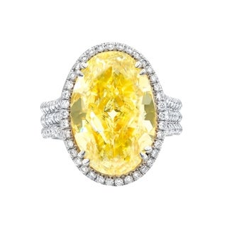 Platinum Three Shank Fancy Yellow Oval 8.72 Carat GIA Certified Diamond Ring
