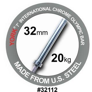 YORK 7' International Chrome Olympic Bar 32mm 20kg