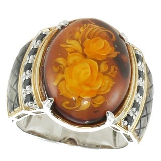 Michael Valitutti Palladium Silver Carved Amber & Black Spinel Flower Men's Ring