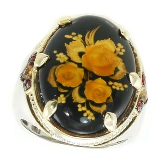 "Michael Valitutti Palladium Silver Carved Amber, Madeira Citrine & Orange Sapphire ""Flowers"" Ring"