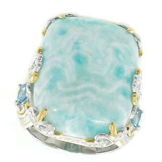 Michael Valitutti Palladium Silver Larimar & Swiss Blue Topaz Cocktail Ring