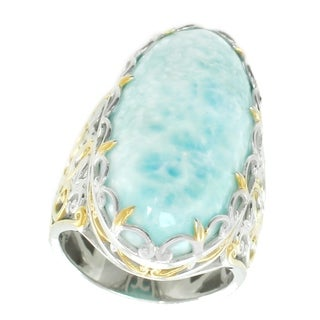 Michael Valitutti Palladium Silver Oval Larimar Ring