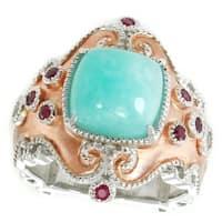 Dallas Prince Sterling Silver Amazonite, Ruby & White Sapphire Ring