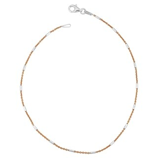 Fremada Italian Sterling Silver Tube Station Rose Rolo Chain Anklet (10 inch)