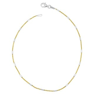 Fremada Italian Sterling Silver Tube Station Yellow Rolo Chain Anklet (10 inch)