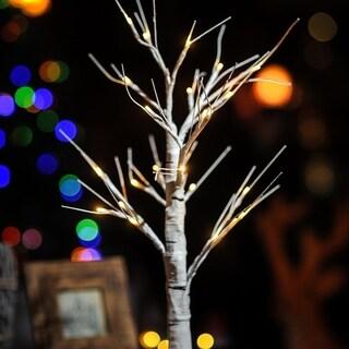 """Christmas Festival ® 24 LEDs White Birch Light - 24"""" (Battery Operated)"""