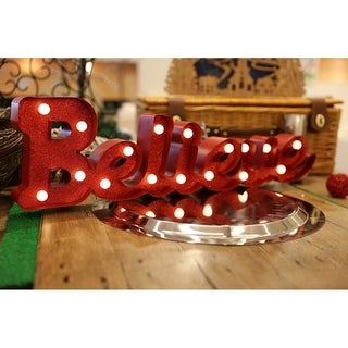 "Christmas Festival ® 17 LEDs Marquee Light with ""Believe"" Sign"