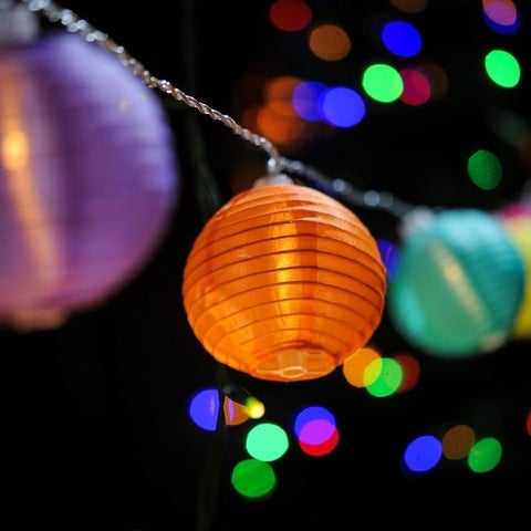 Indoor & Outdoor Plugged 20 LEDs 5-Color Lantern String Light - 30 ft LONG