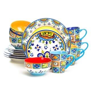 Euro Ceramica Mumbai 16-Piece Coastal Dinnerware Set (Service for 4)