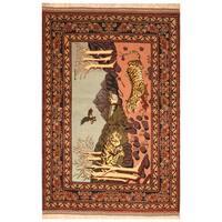 Handmade Herat Oriental Afghan Hand-Knotted Wool & Silk Turkoman Wool Rug   - 3'9 x 5'8 (Afghanistan)