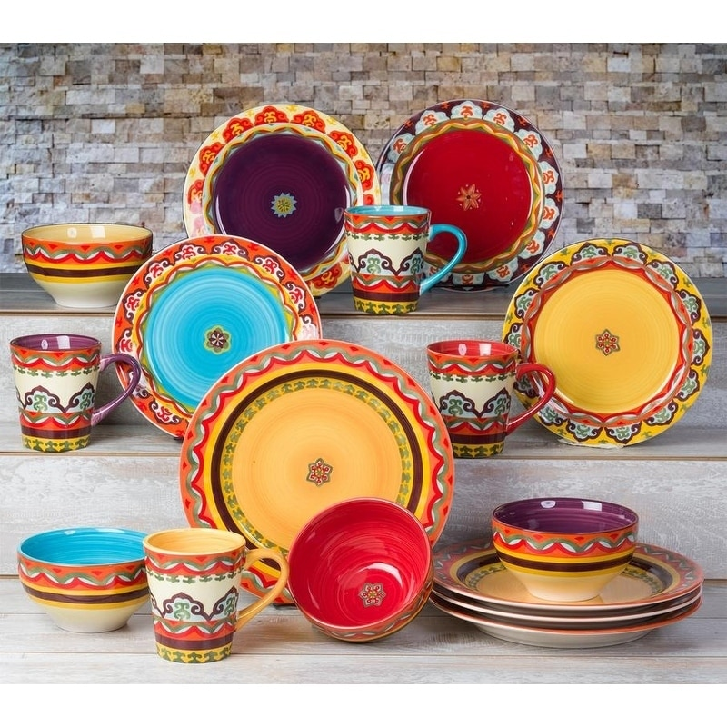 16 Pcs of Colorful Dinnerware Set Crafted from High Fired Earthenware Lead Free  sc 1 st  eBay & 16 Pcs of Colorful Dinnerware Set Crafted from High Fired ...