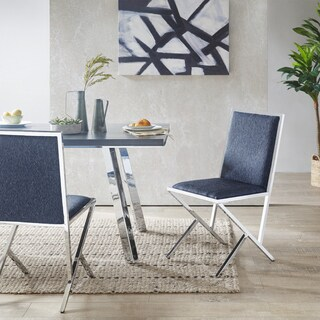 Ink+Ivy Obsidian Blue Fabric/ Chrome Metal Dining Side Chair (Set of 2)