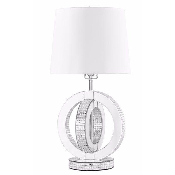 Elegant Lighting Sparkle Collection Silver-finished Steel, Wood, and Clear Beveled Glass 1-light Table Lamp