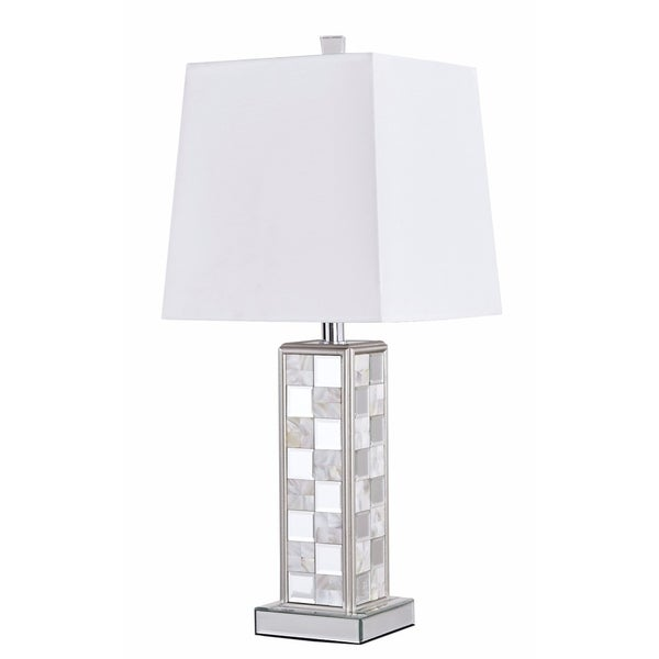 Sparkle Collection Silvertone 1-light Mirrored Table Lamp with White Shade