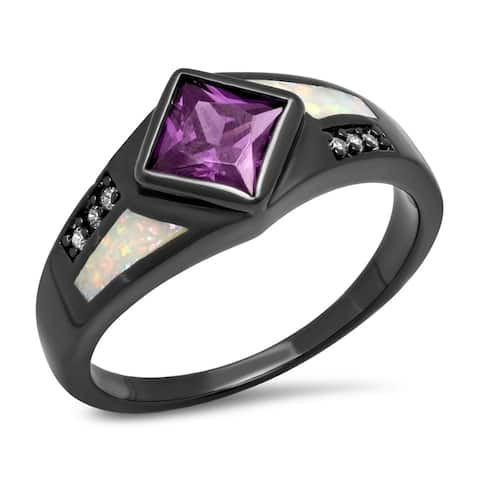 Piatella Ladies Black IP Brass Opal Ring with Purple and White Cubic Zirconia