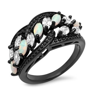 Piatella Ladies Black IP Brass Cubic Zirconia and Opal Ring