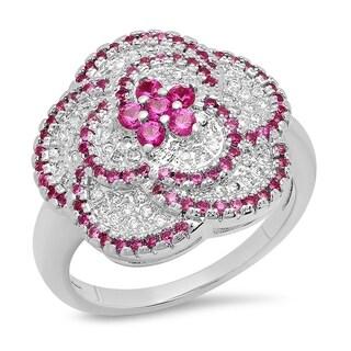Piatella Ladies White Gold Tone Brass Cubic Zirconia and Red Corundum Flower Ring