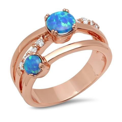 Piatella Ladies Rose Gold Tone Brass Blue Opal and Cubic Zirconia Ring