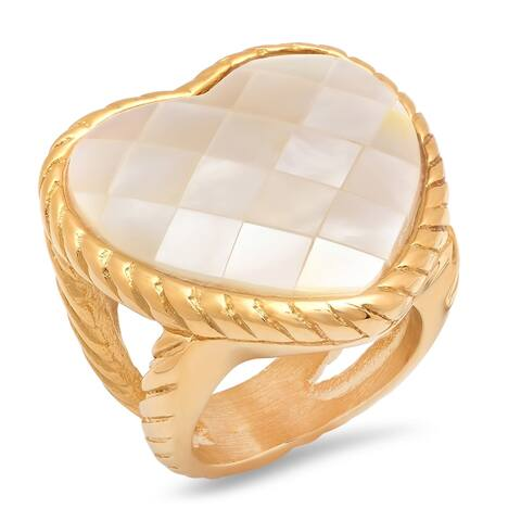 Piatella Ladies Gold Tone Stainless Steel Mother of Pearl Heart Cocktail Ring