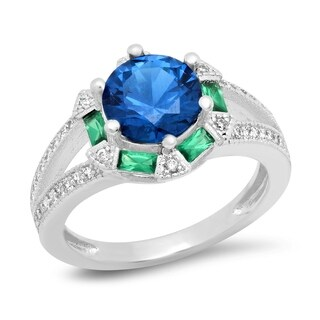 Piatella Ladies White Gold Tone Brass Cubic Zirconia and Lab Created Blue Spinel and Nano Emerald Engagement Ring