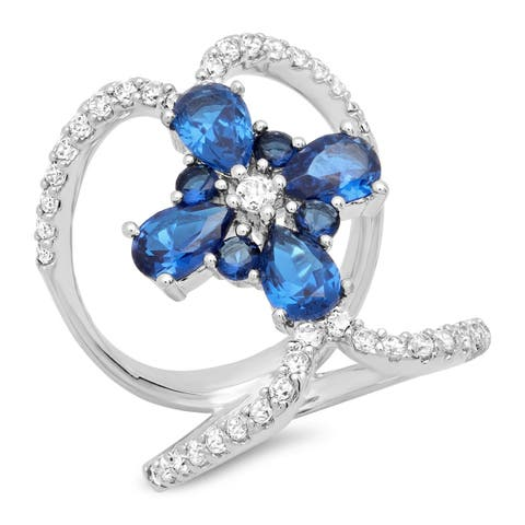 Piatella Ladies White Gold Tone Brass Cubic Zirconia and Blue Spinel Flower Cross Cocktail Ring