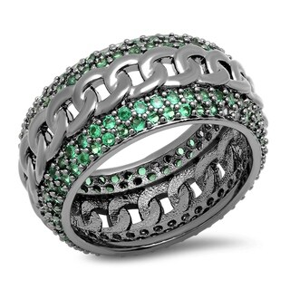 Piatella Ladies Gunmetal Brass Green Spinel Band Ring with Chain Inlay