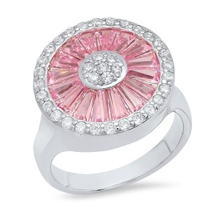 Piatella Ladies White Gold Tone Brass Lab Created Pink Spinel Flower Ring with Cubic Zirconia