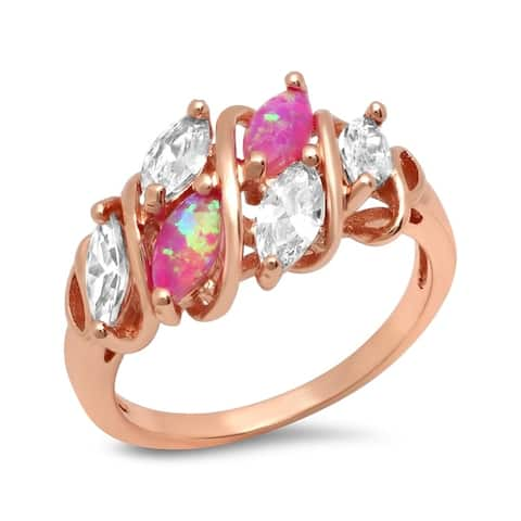 Piatella Ladies Rose Gold Tone Brass Pink Opal and Cubic Zirconia Ring