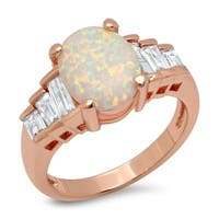 Piatella Ladies Brass Cubic Zirconia and Opal Engagement Ring