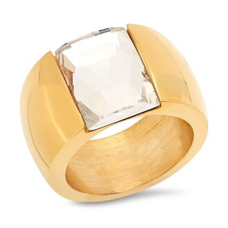 Piatella Ladies Gold Tone Stainless Steel Crystal Band Ring in 2 Colors (More options available)