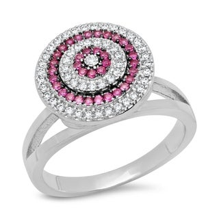 Piatella Ladies Gold Tone Brass Cubic Zirconia and Spinel Swirl Ring in 2 Colors
