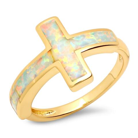 Piatella Ladies Gold Tone Brass Opal Cross Ring in 2 Colors