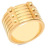 Piatella Ladies Gold Tone Stainless Steel Thick Studded Band Ring in 2 Colors