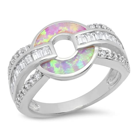Piatella Ladies Gold Tone Brass Cubic Zirconia and Opal Band Ring in 2 Colors
