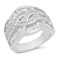 Piatella Ladies White Gold Tone Brass Cubic Zirconia in Baguette Tapered and Round Cut Band Ring