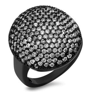 Piatella Ladies Black IP Brass Cubic Zirconia Dome Ring