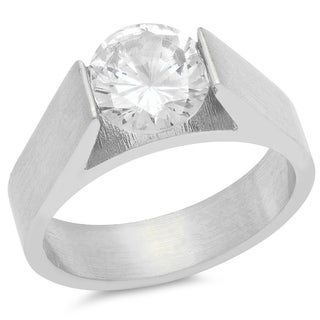 Piatella Ladies Stainless steel Tension Set Cubic Zirconia Engagement Ring in 2 Colors