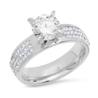 Piatella Ladies Stainless Steel Cubic Zirconia Engagement Ring with Pave Set Stones in 2 Colors