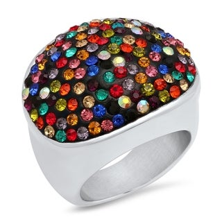 Piatella Ladies Stainless Steel Multi-Colored Cubic Zirconia Cocktail Ring