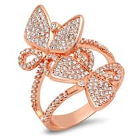 Piatella Ladies Rose Gold Tone Brass Cubic Zirconia Butterfly Ring